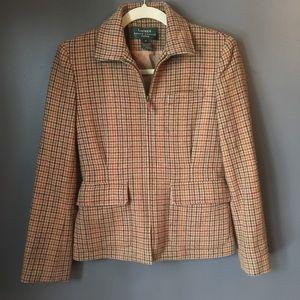 Ralph Lauren Houndstooth Wool Zip Jacket Blazer